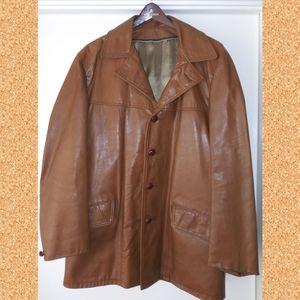 Vintage Leather Coat - EUC